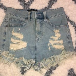 Express Fringe Jean shorts high waist